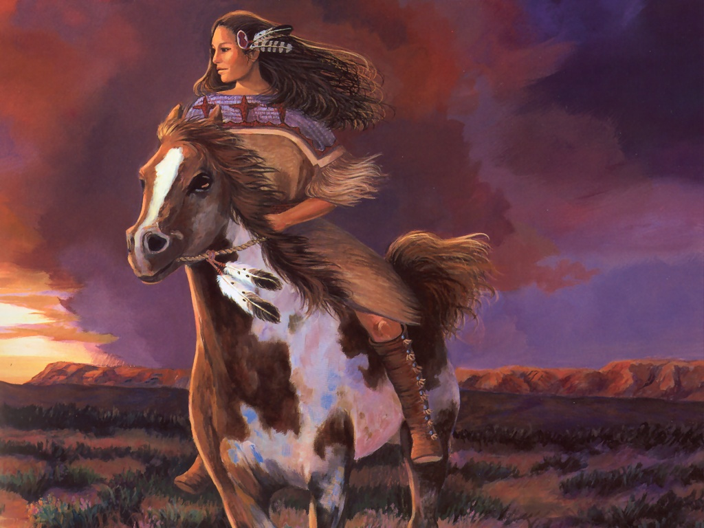 Indian Maiden and Her Horse